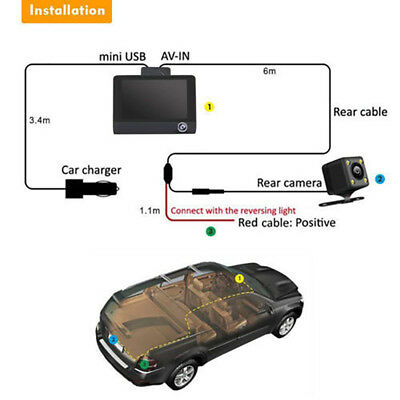 "1080P Car DVR 4""Dual Lens Dash Cam Front and Rear Video Recorder Camera G-sensor 5"