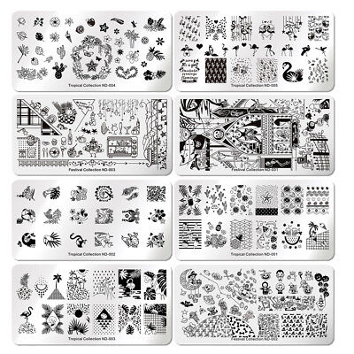 NICOLE DIARY Nail Art Stamping Plates Fantastic Tropical Geometry Image Plate 2