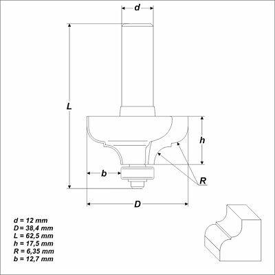 HM Fräser Schaft 12 mm (Profilfräser) Radius 6,35 mm Ø 38,4 mm zweischneidig