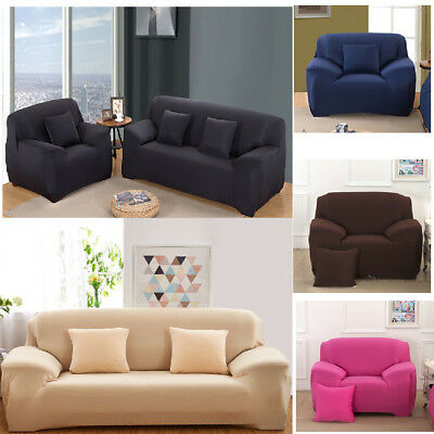 Solid Modern Stretch Chair Sofa Cover 1 2 3 4 Seater Couch Elastic Slipcover US 6