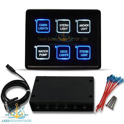 12V/24V 6 Gang Backlit Slim Touch Pad Control Boat/caravan/marine Switch Panel