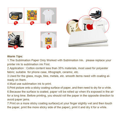 100pc A4 Sublimation Paper Iron On Heat Press Transfer Paper inkjet Print Tshirt 7