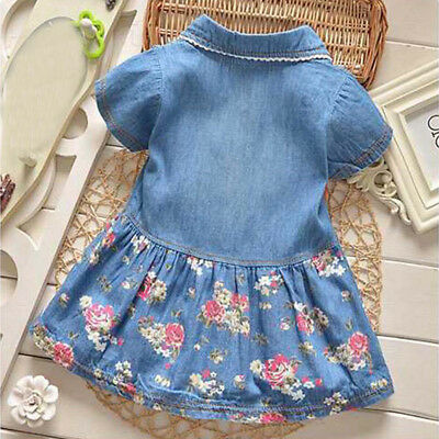 Kids Baby Girls Short Sleeve Princess Dress Outfit Denim Party Sundress Clothes 2