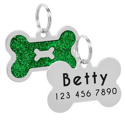 Glitter Bone Shape Personalized Dog Tags Engraved Pet ID Name Collar Tag Charm 5