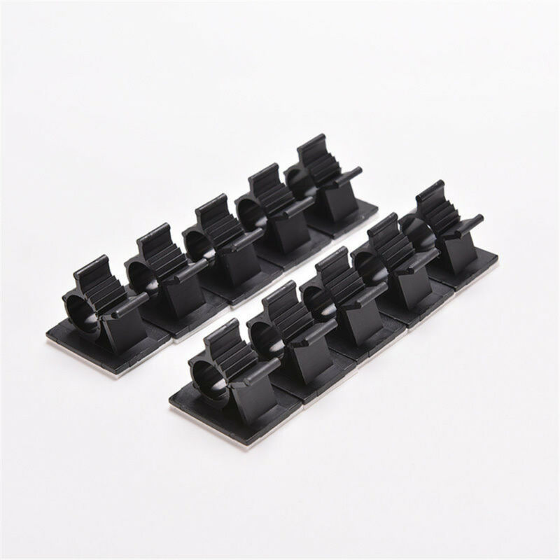 Lot 10pcs Cable Clips Adhesive Cord Management Black Wire Holder Organizer Clamp 5