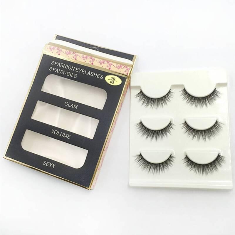 3 Pairs Natural False Eyelashes Fake Lashes Makeup 3D Faux Mink Extension 10