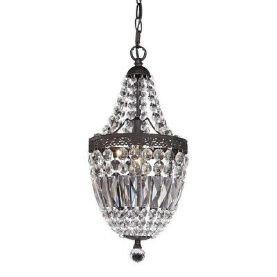 Crystal Mini Chandelier Pendant French Country Vintage Style Light
