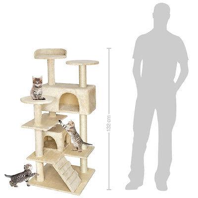 Arbre à chat griffoir grattoir avec 2 grottes geant 132cm beige 2