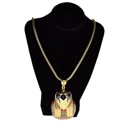 "Horus Falcon Egyptian Bird God Hip Hop Chain Gold Finish 36"" Franco Necklace 5"