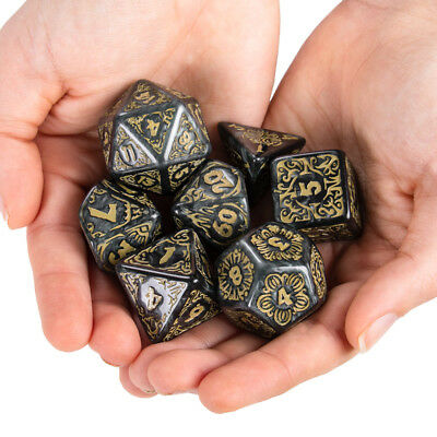 Titan Dice: Nyx | 7 Giant Polyhedral Dice Set in Wooden Box | 25mm Jumbo Dice 2