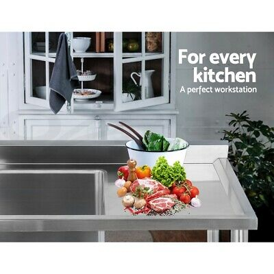 Cefito Stainless Steel Sink Bench Kitchen Work Benches Single Bowl 100x60cm 304 8
