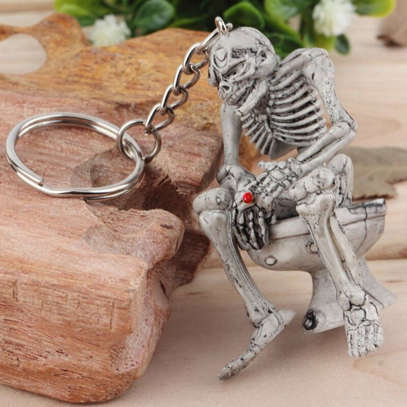 1pc Rubber Vogue Keychain Gray Car Keyring Key Chain Cool Skull Toilet Gift 2