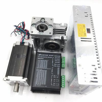 3NM Stepper Motor NEMA23 Drive Kit L112mm Worm Gear Reducer30:1&Power Supply CNC 5