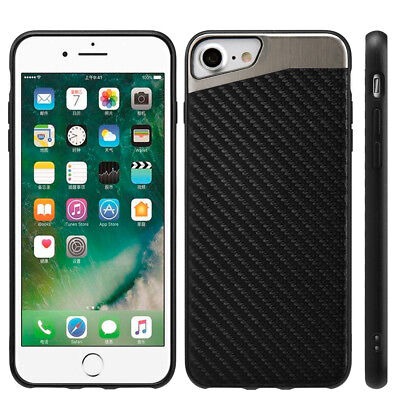 for iPhone 7/8 & 7+/8+ PLUS - Magnetic BLACK Carbon Fiber TPU Rubber Case cover 5