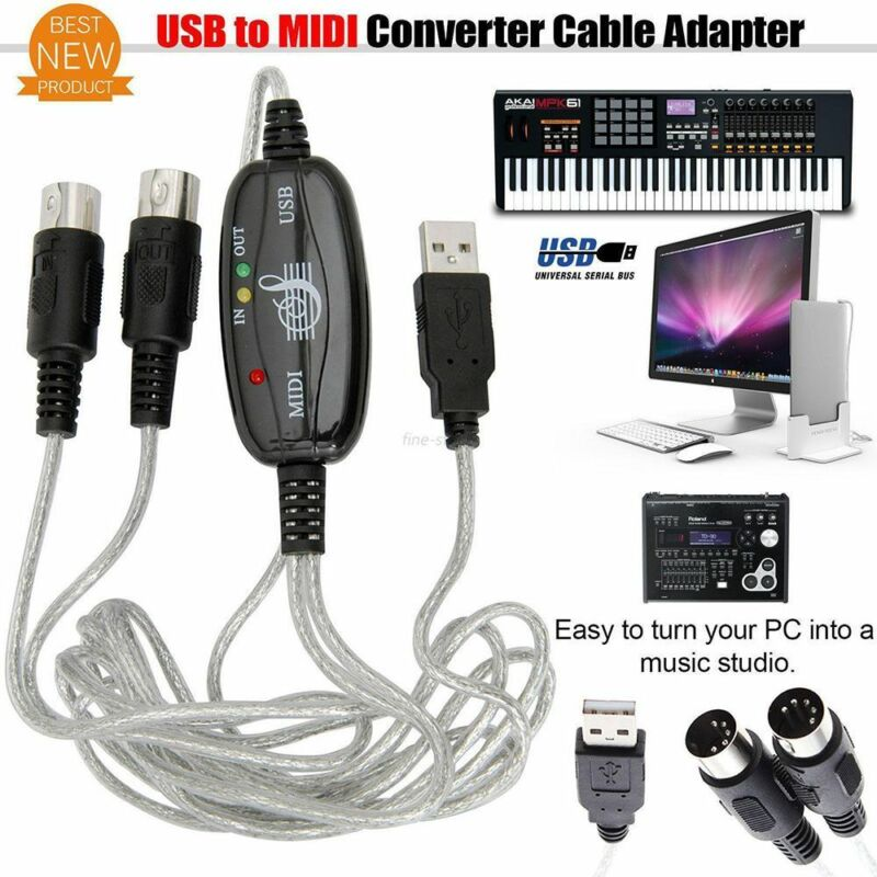 1Pc MIDI to USB In-Out Interface Edit Cable PC To Music Keyboard Adapter Cord 2