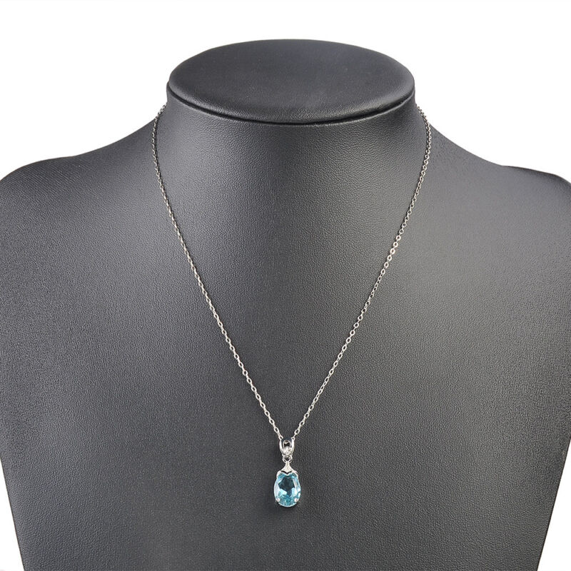 Vintage Gemstone  Natural Aquamarine Silver Chain Pendant Necklace Jewelry Gift 10