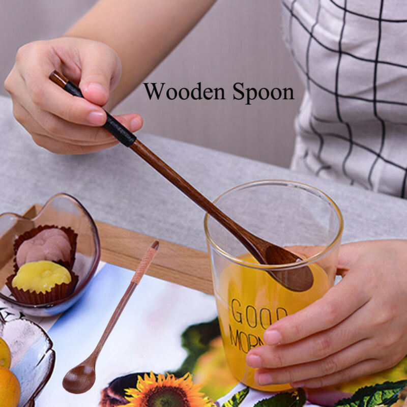 Wooden Spoons Large Long Handled Spoon Wood Rice Soup Dessert Coffer Tea Spoons