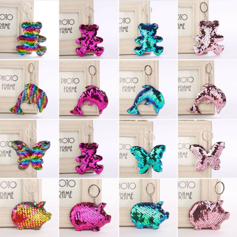Pig Bear Butterfly Keychain Glitter Key Chain Gifts Car Bag Accessories Key Ring 7