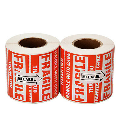 2 Rolls 500/Roll 2x3 Fragile Stickers Handle with Care Thank You Mailing Labels 6