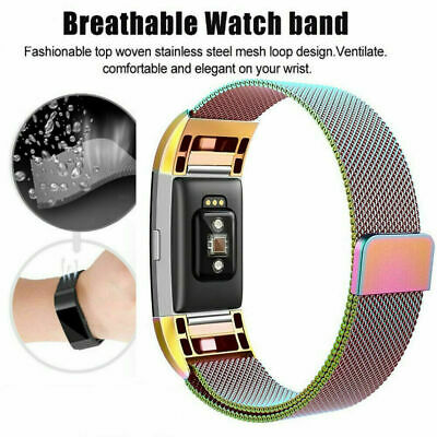 For Fitbit Charge 2 Strap Replacement Milanese Band Metal Stainless Steel Magnet 6
