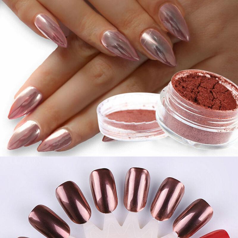 ROSE GOLD NAIL Mirror Powder Nails Glitter Chrome Powder Nail Art ...