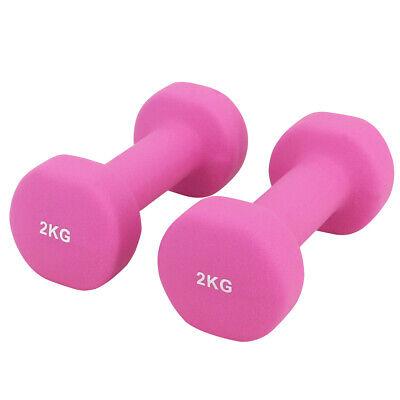 Neoprene Dumbbells Hexagonal Cast Iron Weights Ladies Home Gym Workout Aerobic 5