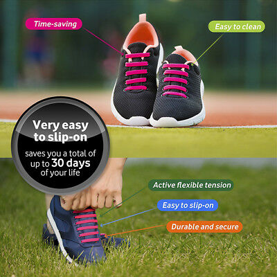 No Tie Elastic Silicone Shoe Laces Shoelaces Sneakers Runners Child/Adult/Unisex 5