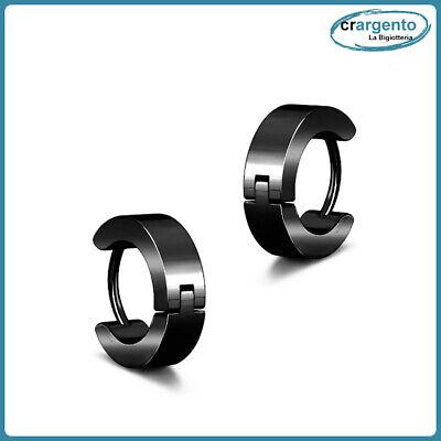 orecchini cerchio uomo acciaio inox cerchietti da in nero neri piccoli orecchino 3