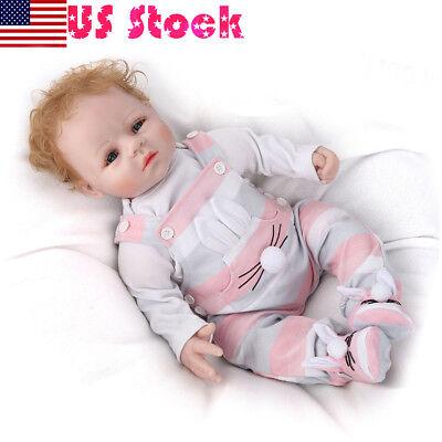 "20"" Lifelike Reborn Baby dolls Silicone Boy Doll+Clothes+Bear Kids Xmas Gifts"