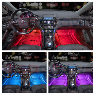 NEW! LEDGLOW 4pc 7 COLOR LED INTERIOR LIGHT KIT for ALL CARS w ACCENT NEON GLOW 3