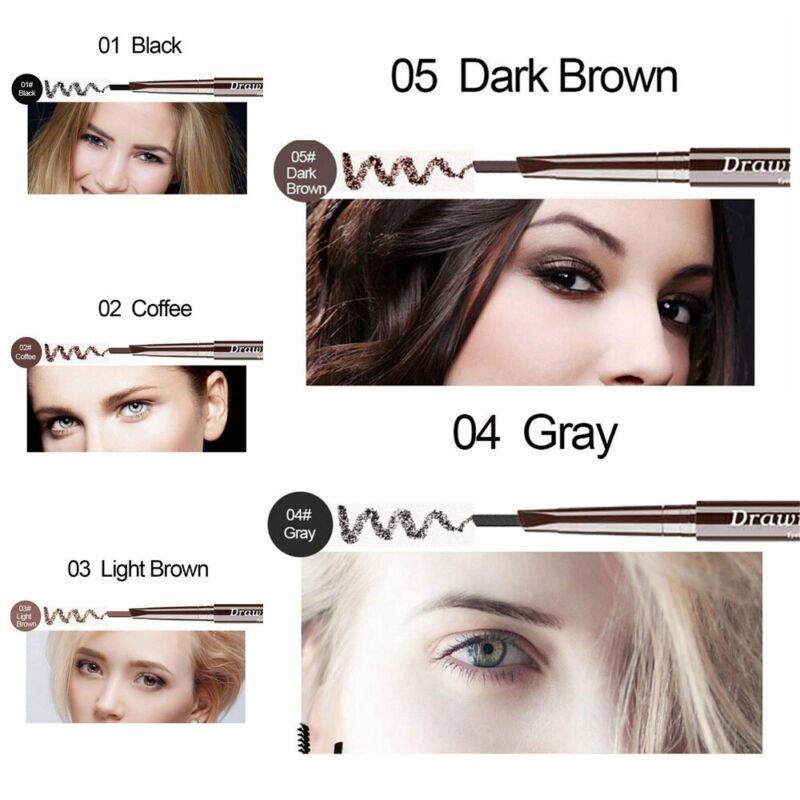 5 Color Double Ended Eyebrow Pencil Waterproof Long Lasting Triangle Rotatable 4