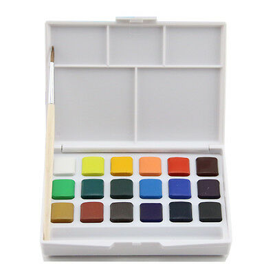 Mini Talens 18 Color Solid WaterColor Portable Palette Sketch Box W/Brushes