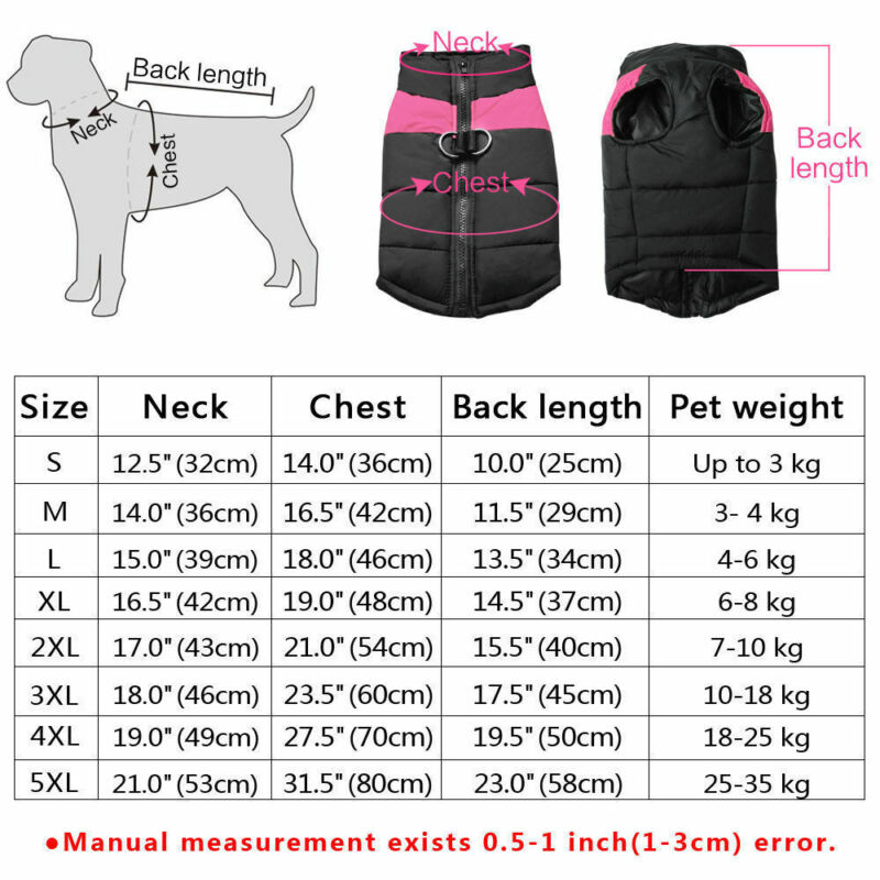 Waterproof Pet Dog Warm Padded Vest Coat Clothes Puppy Winter Jacket Apparel UK 2