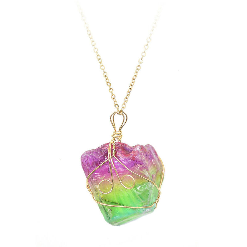 Rainbow Stone Natural Crystal Chakra Rock Chain Quartz Pendant Necklace Jewelry 10
