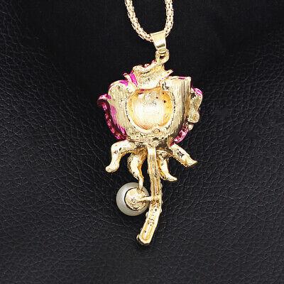 Betsey Johnson Fuchsia Crystal Pearl Rose Flower Pendant Chain Women/'s Necklace