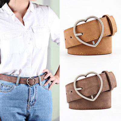 Stylish Ladies Women Heart Buckle Belt Dress Jeans Faux Leather Waistband NEW 2