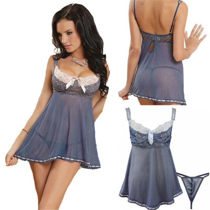 Sexy Women's Lace Nightie Lingerie Sleepwear Underwear Nightwear Dress 4