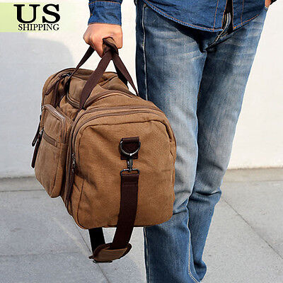 Canvas Travel Tote Luggage Large Men's Weekend Gym Shoulder Duffle Bag & Strap 5