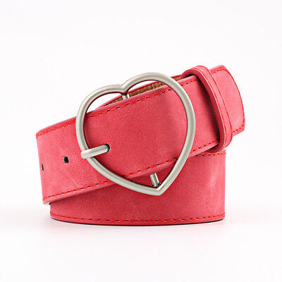 Stylish Ladies Women Heart Buckle Belt Dress Jeans Faux Leather Waistband NEW 11
