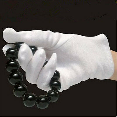White Cotton Gloves Soft Thin Jewelry Silver Inspection Work Handling Gloves UK 10