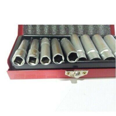 Set 9 Bussole Lunghe Attacco 1/4 Pollici Chrome Vanadium Con Cofanetto Metallo 2