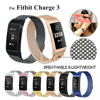 For Fitbit Charge 3 Strap Replacement Milanese Watch Band Stainless Steel Magnet 11