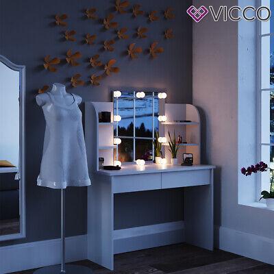 Vicco Table de maquillage Charlotte commode de coiffeuse miroir LED blanc 4