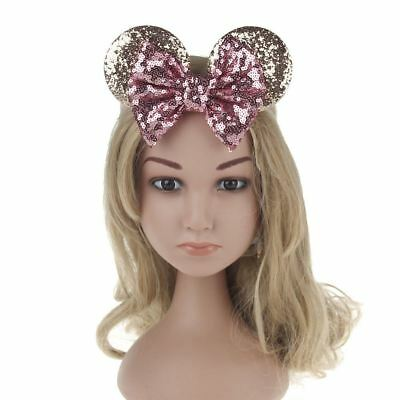 Kids Sequin MINNIE MICKEY MOUSE Headband Ears Bow Fancy Party Dress Up Accessory 7