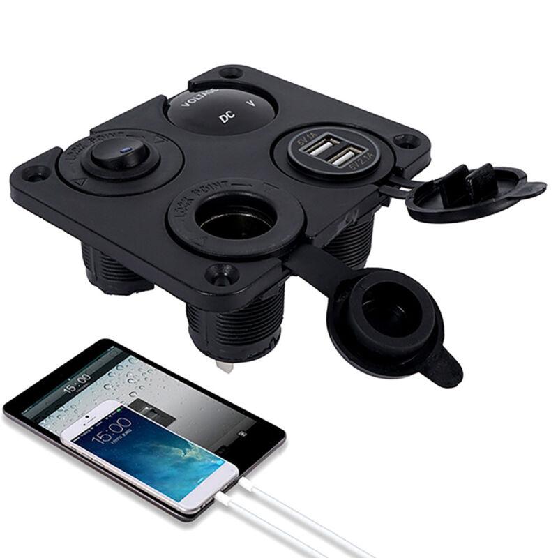 12V Car Boat switch panel Cigarette Lighter Socket 3.1A USB Charger Voltmeter 6