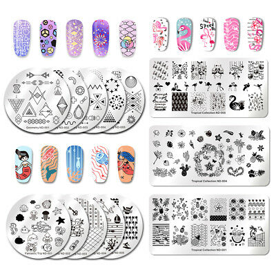 NICOLE DIARY Nail Art Stamping Plates Fantastic Tropical Geometry Image Plate 7