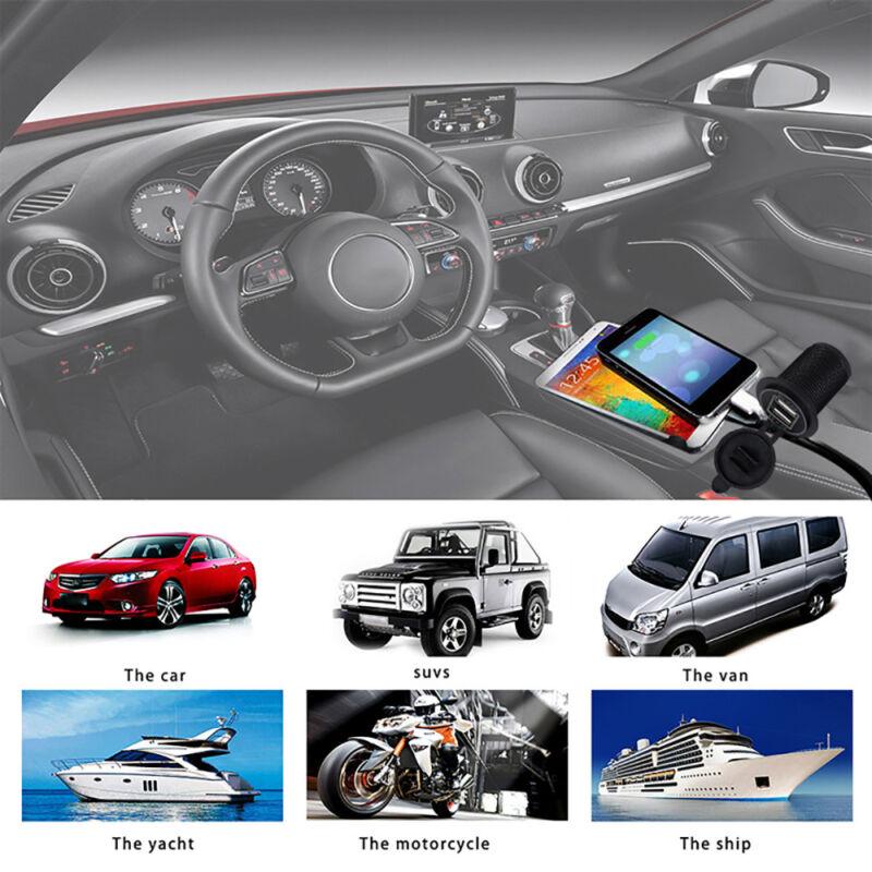 12V Car Boat switch panel Cigarette Lighter Socket 3.1A USB Charger Voltmeter 7