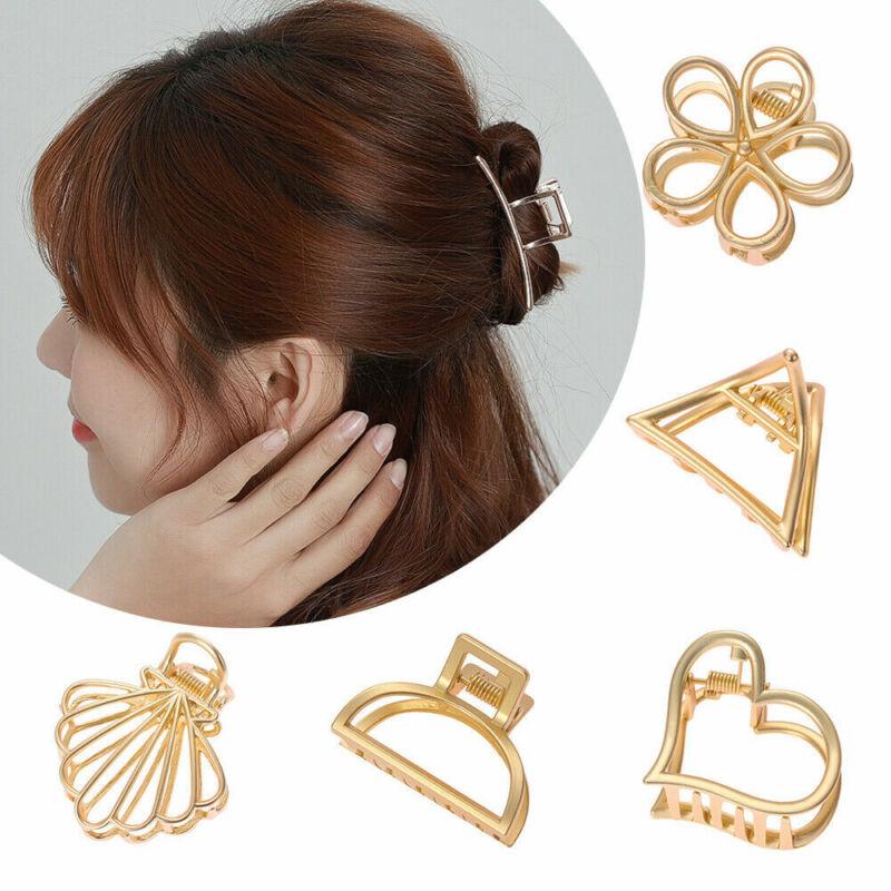 Gold Metal Geometric Hair Claw Hair Holder Claw Hollow Hair Clips Hair Crab Clip