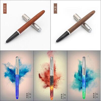 Jinhao 51A Acrylic/Wood Fountain Pen Hooded Iridium Extra Fine 0.38/0.5mm Nibs