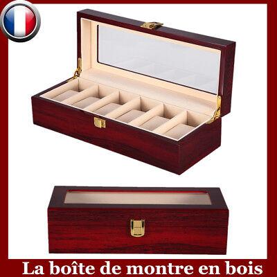 Boîte Ecrin Présentoir à Montre Coffret en Bois Bijoux Rangement Pour 6 Montres 2